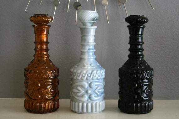 Vintage Decanter Set Black, Amber, and Opaque Gray Glass 1960s Groovy