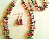 Double Strand Multi-Colored Necklace, Bracelet, and Earring Set