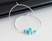 Silver hoop earrings, Swarovski turquoise earrings, simple everyday jewelry