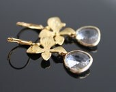 Orchid flower gold earrings, clear crystal earrings, bridesmaids gift. Wedding jewelry