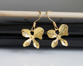 Orchid gold earrings, small flower earrings, simple everyday jewelry