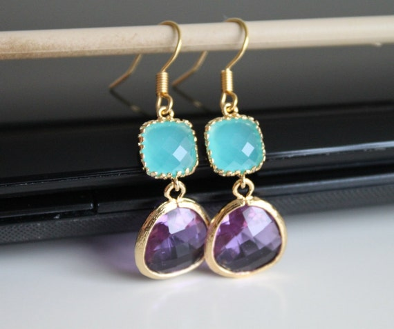 Mint violet crystal earrings, green opal amethyst glass earrings,  long dangle earrings, bridesmaid gifts. Wedding jewelry.