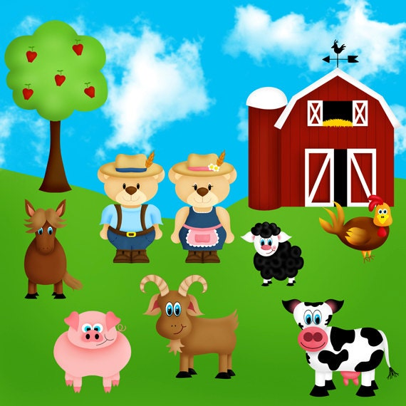 Farmyard farm animals clip art set with farmer Ted. INSTANT