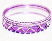 Children's Bright Violet Bangle Set (5 bracelets)