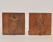 Vintage Wood Owl Bookends