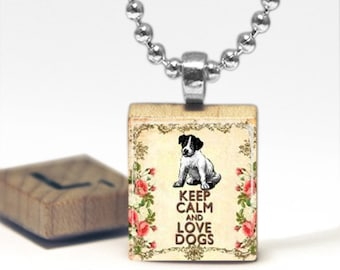Keep Calm and Love Dogs Scrabble Tile Pendant Necklace by Cheeky Monkey Pendants Gift-Present