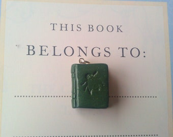 This Book Belongs To - green bee polymer clay pendant with silver bail 1