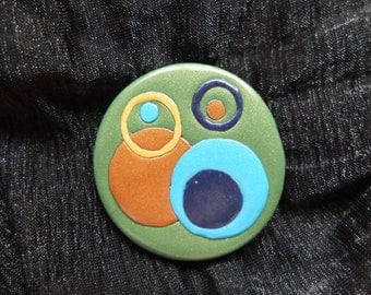Mod Circles Peacock brooch - polymer clay with gold pinback 2