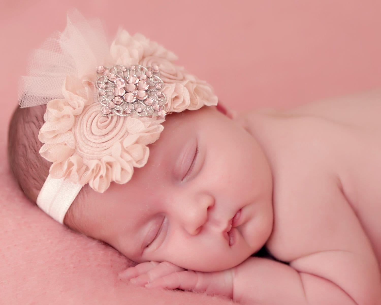 Shabby chic baby fabric flower headband newborn baby girls for Baby girl fabric