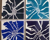 Flowers - set of 4 flower paintings in Blues, Gray and Purple