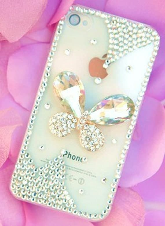 iPhone 4 and iPhone 4S Sparkling Diamond Butterfly Jewel Bling Rhinestone case