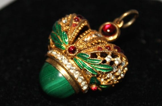 RESERVED FOR IRINA Chinese Malachite Enamel and Rhinestone Gold Crown Pendant