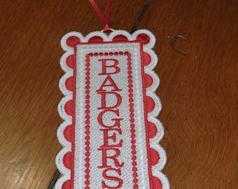 Embroidered Bookmark  - Badgers