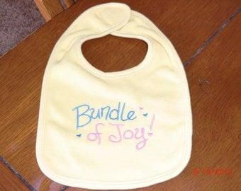 "Embroidered Baby Bib  -  ""Bundle of Joy""  -  Yellow Bib"