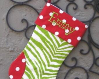 Zebra Print Christmas Stocking, Lime Zebra Stocking, Personalized stocking, Matching family stockings, holiday decor