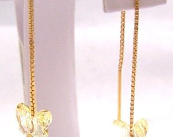 Yellow Crystal Butterfly Earrings on 14Kt. Gold over Sterling Silver (Vermeil) Threaders - 0854/0559