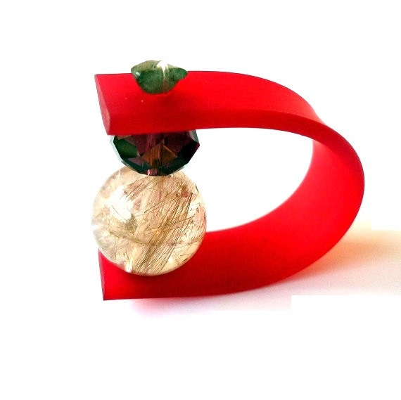 CANDYS - Rubber ring - multicolor rings with rubber, precious and semiprecious beads. Made to order