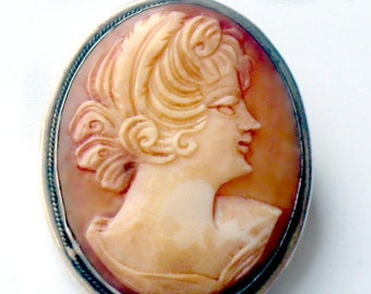 Antique Cameo Brooch 800 Italy Silver Vintage Jewelry Collectible Pin Silver Lady Antique Silver Cameo Jewelry For Women