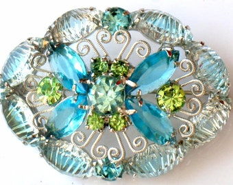 Juliana Brooch Blue Green Art Glass Pin Rhinestone Dome Scrollwork Vintage High Fashion Pin Jewelry Collectable