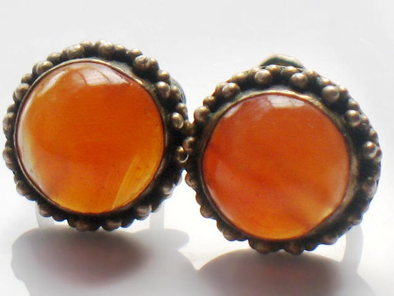 Vintage Carnelian Earrings Signed Silver Gemstone Orange Autumn Collectable Jewelry