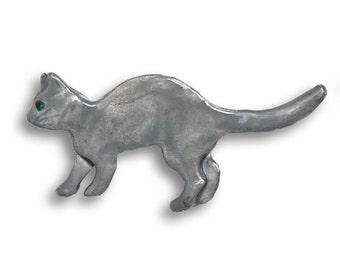 Enamel Grey Cat Pin