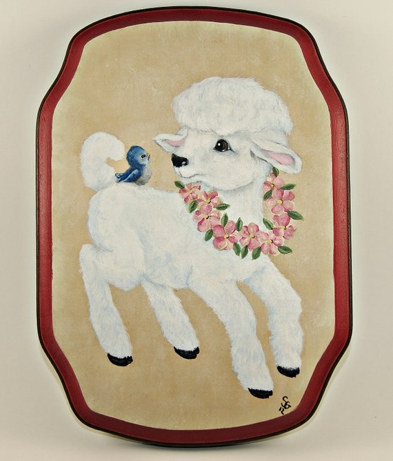 Nursery Wall Art, Hand Painted Baby Lamb Wood Plaque, Childrens Decor, Sales Proceeds Supports Animal Rescue Charity