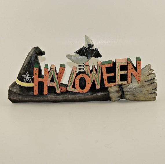 Halloween Decor Witches Broom, Black Hat & Vampire Bat- Animal Charity
