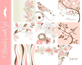 Digital Card Set of 9 Designs for Scrapbooks, Cards, retro, Pink, Grey, white, Wedding invitation, Birds, Collages and More - Flowers