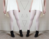Crystal white leggings - geometric minimal sheer mesh leggings, simple minimalist fashion modern - medium