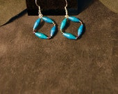 Up-cycled Handmade Small 1 inch Paper Bead Earrings-Turquoise Color