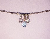 Blue Topaz, Pink Quartz Necklace