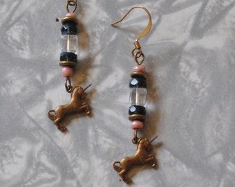 Crystal, pink and black unicorn earrings