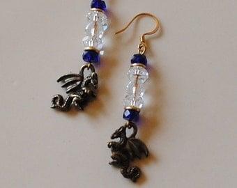 crystal and cobalt dragon earrings