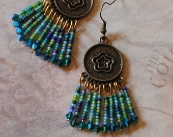 Brass flower and blue bead earrings