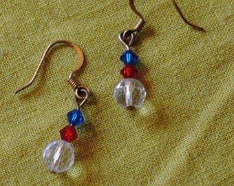 Red blue and crystal ball earrings