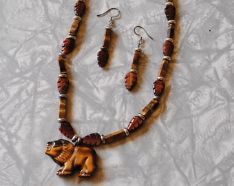 Tigereye necklace and earrings #2