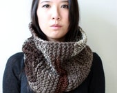 city deco - chunky hand knit brown mixing cowl