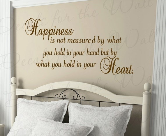Happiness Not Measured by What You Hold Your Hand but Heart Inspirational  Wall Decal Decor Lettering Vinyl Quote Sticker Art Decoration I83