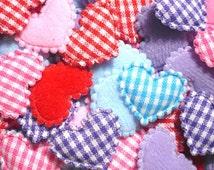 100 Padded gingham Cotton Heart fabric appliques trim - 22 x 15 mm. - Wholesale Lot - Scrapbook Card Book Album