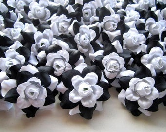 100 Black and White mini Roses Heads - Artificial Silk Flower - 1.75 inches - Wholesale Lot - for Wedding Work, Make Hair clips, headbands