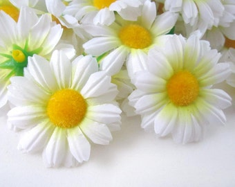 25 White Gerbera Daisy Heads - Artificial Silk Flowers - 1.75 inches - Wholesale Lot - for Wedding work, Make Hair clips