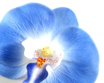 "10x Large Blue Butterfly Orchids Heads 3.75"" - Fabric Latex Coated - Phalaenopsis / Artificial Flower / Silk Flower - Wedding Decoration"