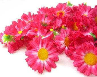 100 Dark Pink Gerbera Daisy Heads - Artificial Silk Flower - 1.75 inches - Wholesale Lot - for Wedding work, Make Hair clips