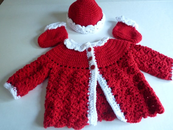 Baby girl crochet jacket, hat and booties christmas layette set hand crocheted in red with white trim