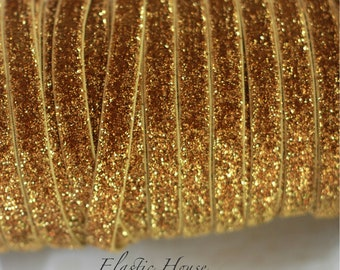 """3/8"""" Glitter Elastic  - Gold Color - Gold Glitter Velvet Elastic - Gold Glitter Elastic -Hair Accessories  Supplies"""