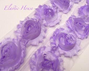 "2.5"" SHIMMERY Shabby Rose Trim- Lavender Color- Shimmery Chiffon Trim - Purple Chiffon Flowers - Hair Accessories Supplies"