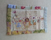 Applique Hand Stitched Picture 'Flowers with Hidden Cat'