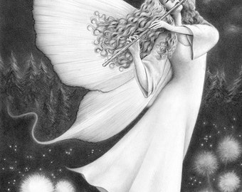 What Dreams May Come - Open edition art print, graphite pencil drawing, fantasy
