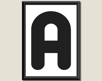 Typography DIGITAL PRINT Monogram Initial Wall Art Zarista Letter A 5x7