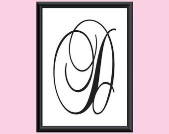 Typography DIGITAL PRINT Monogram Initial Wall Art BrockScript Letter D 5x7